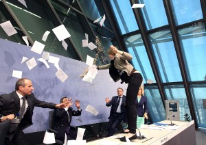 Draghi Attacked By Protester Screaming End ECB Dictatorship
